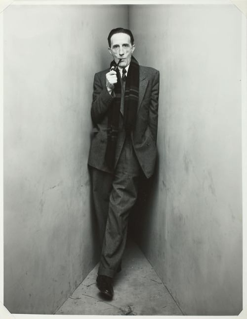 i12bent:  Marcel Duchamp (July 28, 1887 - 1968), French artist associated with Dada and Surrealism, and a huge enabler and influence for several generations of artists that followed. Duchamp moved the conception of art and its boundaries more than any other 20th C. figure… Photo: Irving Penn cornered Marcel Duchamp in 1948
