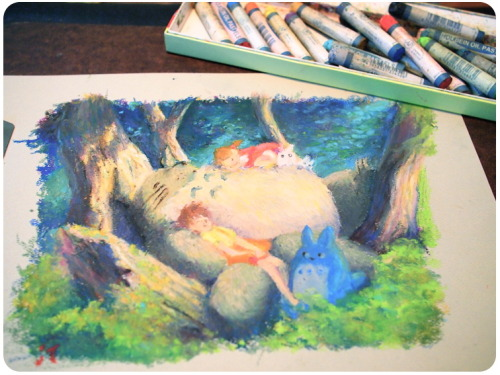 jsmnt:  Totoro's Afternoon Nap i haven't played with oil pastels for 3 yearsss. so much fun until you get unnecessary olive green in skin tones. awesome! i had reference, but was too excited to start to really measure everything.