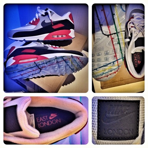 #SkeeLocker- #todayskicks: Air Max 90 #London2012 Edition (complete with map of the London Underground on bottom)- sick shoe! JD exclusive in London… Got the last pair!  (Taken with Instagram at London 2012 Olympic Village)