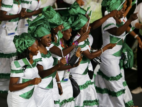 karlnova:  Ladies from the Nigerian Olympic team making their entrance at the opening ceremony