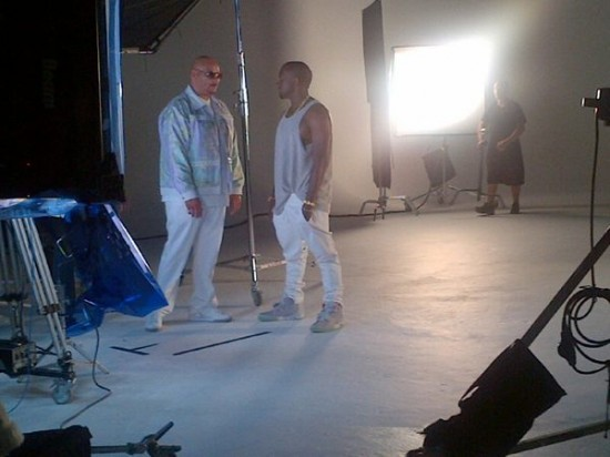 "Fat Joe & Kanye West Shooting Video For ""Pride N Joy""  'Ye and Joey Crack are currently in NY shooting the video for Joe's Bink-produced single, ""Pride 'N Joy"". No sign of Busta Rhymes, Miguel, Roscoe Dash, DJ Khaled or Jadakiss yet. Stay tuned for more pics soon."