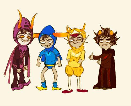 kinomatika:  yummytomatoes:  quick doodle of these beautiful outfits   karkat is like 'and then there's THESE assholes'
