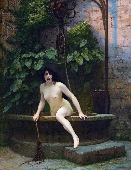 "trapcard:  coffeeinmybeard:  jake-clark:  autumngracy:  cumaeansibyl:  seekers-whoarelovers:  museedart:  Truth Coming Out of Her Well to Shame Mankind, 1896 by Jean-Léon Gérôme  I've been thinking a lot about it and this is literally the best title of anything  so I guess it was some ancient Greek who said ""truth lives at the bottom of a well"" and I don't know what he meant or why it stuck, but I've seen a lot of 19th-century references to it (because people always love showing off how much they know about stuff) but I like this because imagine how fucking pissed off you would be if you lived at the bottom of a well in the first place, but then you had to climb all the way out of it somehow because humans were such unbelievable assholes that you were forced to yell at them in person  ""I CAME OUT OF THE WELL BECAUSE YOU NEED TO STOP""    I just spit all over my phone lol  Honestly me."