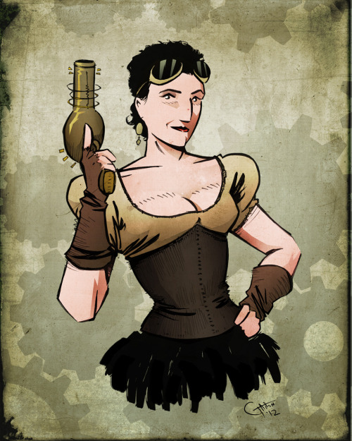 More new art! A portrait of Beth as a steampunk adventuress.