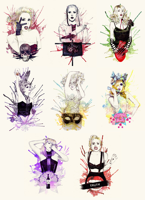 """The Fame Monster EP"" Illustration-Serie:  Bad Romance // Alejandro // Monster // Speechless // Dance In The Dark // Telephone // So Happy I Could Die // Teeth"