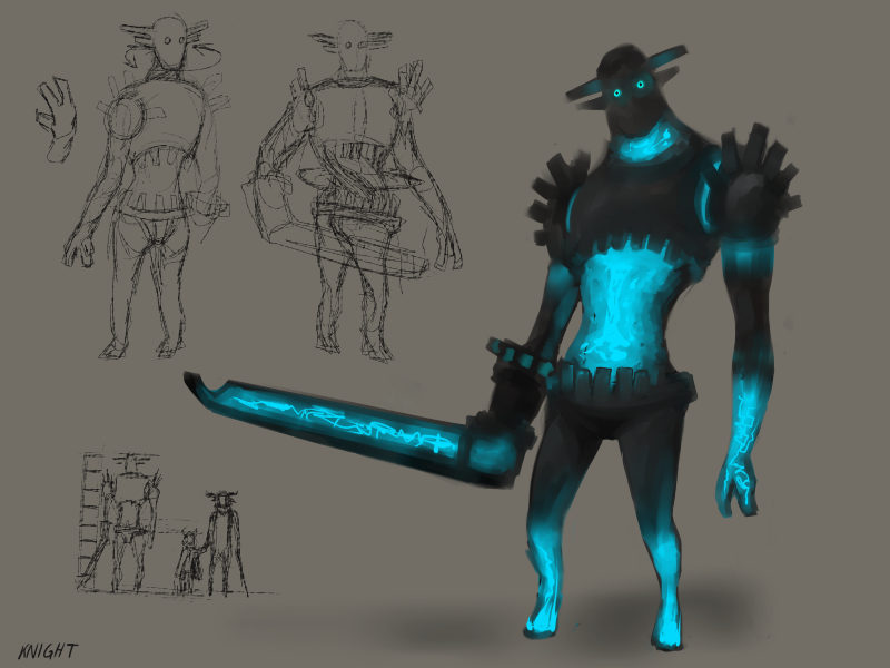 settoru:  Concept - Knight Guardian The guardians in Settoru are only found in the castle. Because Tabin and Settoru do not have any weapons, save for a stick staff, they will need to use the environment around them in order to subdue any of the guardians. Some guardians will attempt to capture Settoru but sometimes they will even try to capture Tabin, so the two will need to work as close as possible in order to defeat them. Knights may move slow and are slow-witted, but they are keen to their surroundings and can be very difficult to defeat. They can twist their head and swivel their upper torso a complete 360°, making it near impossible to sneak up on them. They are also adept blockers, so trying to knock them out with items or with Settoru is futile. They are also able to grab objects or people, and will attempt to walk away carrying either Settoru or Tabin. However, they also focus too vehemently on their target, so running around them in circles will easily confuse them and give Tabin and Settoru enough time to run away.