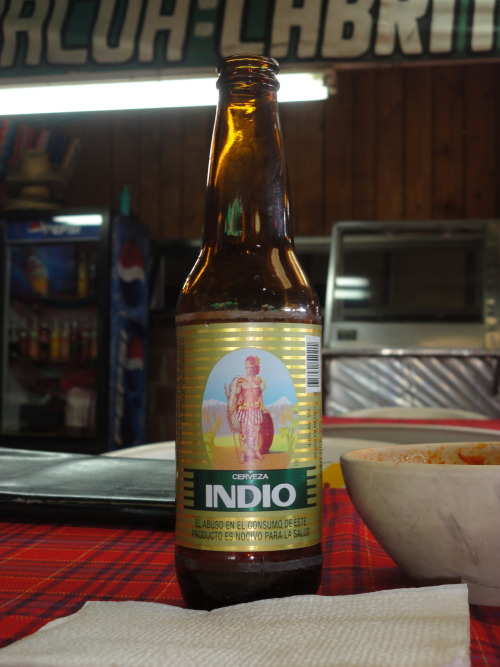 Cervecita Indio.  I was at Mike Giants Art Show in the Mission District (San Francisco) and saw people drinking Indio in cans!!!! I am sure there are some liquor stores in the Mission that will sell this beer. Its. fucking. good.   Rad blog I get food withdrawals every time I have to return to the states from D.F.