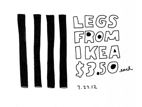 theokbb:  Daily Purchase Drawing for 07.27.12   People tell me IKEA will be opening next month. I can't wait to get me some legs!