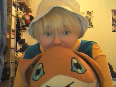 SO LOOK WHOS COMING TO AMECON. PATAMON LOVES HIS CONS. 5 hours ago this was just a pile of yellow & teal fabric. I'm getting faster at making stuff D: Gottagofast.