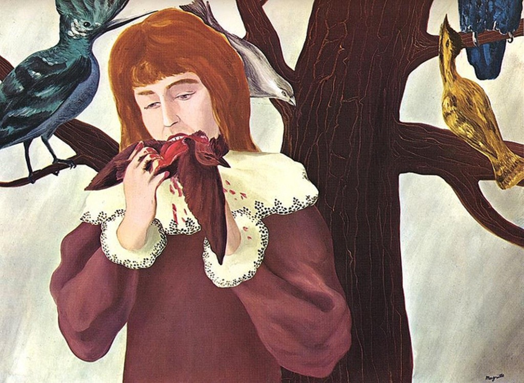 rené magritte, young girl eating a bird (the pleasure), 1927 (via asctx)