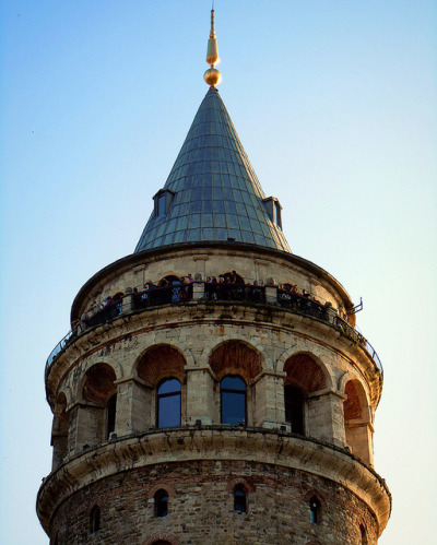 Here's a close up of the top of the Galata Tower - Istanbul / by yon_willis.