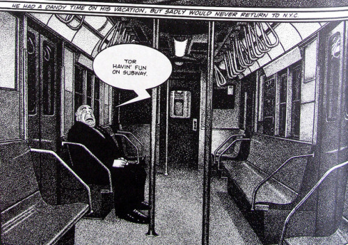 Tor rides the subway - by Drew Friedman