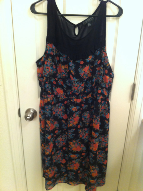 Floral dress with mesh yoke from Forever 21+, pretty cute, like all the colors.