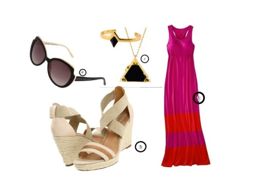 rayofcitrus:  1. Maxi dress from Mossimo-Target. 2. Necklace & Cuff from House of Harlow 3. Wedges from Fossil. 4. Cat eye sunglasses from Marc Jacobs! Perfect for a summer sunny day!!