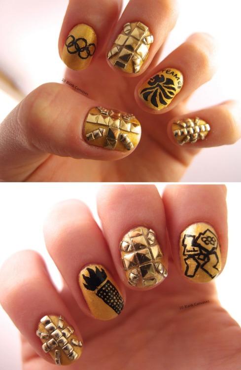 10blankcanvases:  Golden Olympic nails