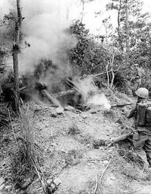 Flamethrower used by the Marines to clear caves and tunnels during the Battle of Okinawa, 1945.