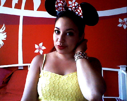Rocking my Vintage Minnie Ears !! Love them so much !! had them since i was a kid :D