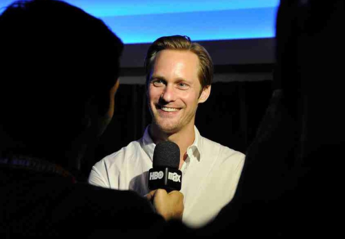 """Star Sightings - ""True Blood"" heartthrob Alexander Skarsgård on the terrace at Piccola Cucina on Prince Street, blowing air kisses to a half-dozen 20-something girls."""