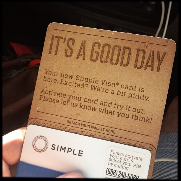 photo by Mike Ambs - yay :) my @simplify card arrived - that was fast! I don't think I've ever actually been excited about something from a bank arriving in the mail before :P