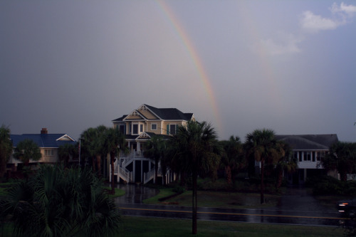 Rainbow captured after thunderstorm tonight on the Isle of Palms.