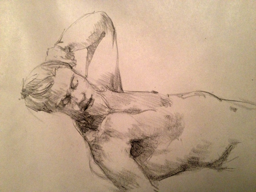 The Yogi Intermediate Figure Drawing, Prof. Robert Revels, Summer Semester (2012) Conte Crayon on smooth newsprint.