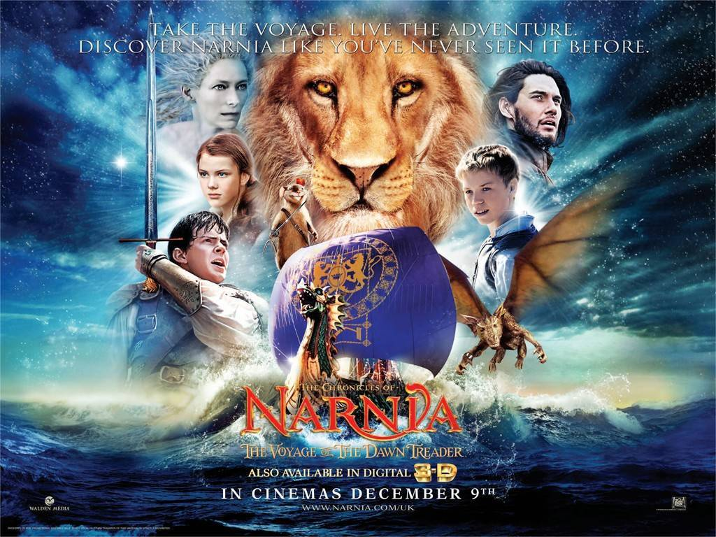 We are watching Chronicles of Narnia: Voyage of The Dawn Treader - Lucy and Edmund Pevensie return to Narnia with their cousin Eustace where they meet up with Prince Caspian for a trip across the sea aboard the royal ship The Dawn Treader. Along the way they encounter dragons, dwarves, merfolk, and a band of lost warriors before reaching the edge of the world. (from IMDB) This movie is from the book written by the great CS Lewis who brought us Mere Christianity, Surprised By Joy and much more!
