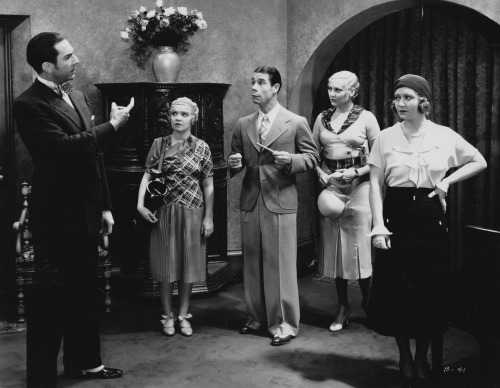 whataboutbobbed:  Bela Lugosi, Marjorie White, Joe E Brown, Thelma Todd and Ona Munson in 1931's Broadminded