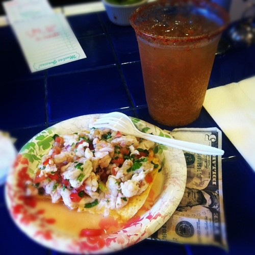 $5 & shrimp ceviche and a michelada Pacifica beer @tjoyster http://moneyfood.tumblr.com #moneyfood #taco #seafood #beer #haveasummah (Taken with Instagram at TJ Oyster Bar)