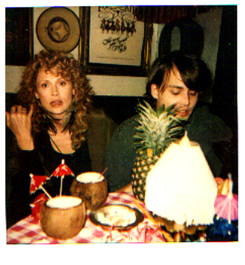 A Polaroid picture of Faye Dunaway and Johnny Depp, on the set of Arizona Dream (1993).