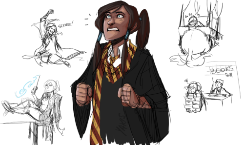yakis:  Inspired by Dottily.tumblr.com 's amazing Korra Potter concepts and my re-reading of the HP books! Also messing with coloring again.  And she'd be a lion of course! I kind of..imagine her a bit James Potterish/Marauder at first. She'd slowly learn to tone it down and not be so headstrong. Ahh I don't know.
