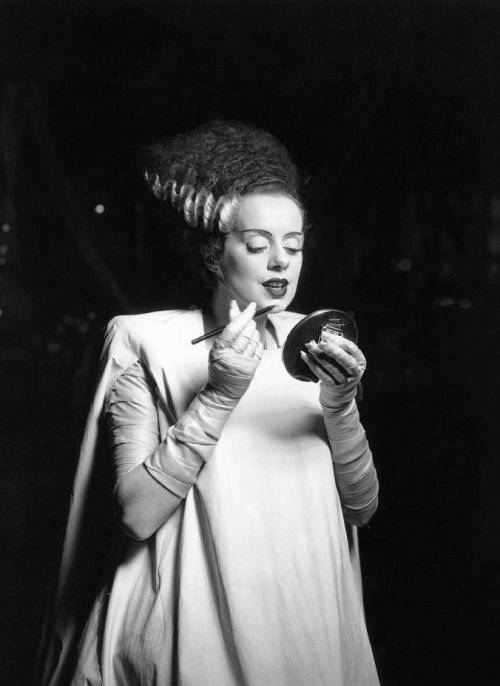 "Elsa Lanchester on the set of Bride of Frankenstein (1935, dir. James Whale)  On her maternal instincts: ""I held a baby once. It felt like a bag of hot snakes."" (via)"
