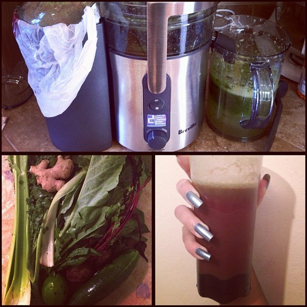Weekend Recharge: Kale, Spinach, Collards, Swiss Chard, Celery, Cucumber, Ginger and a Lime. With Beets for natural sweetening. Health, energy, hair, skin and nails on 10! (Taken with Instagram)