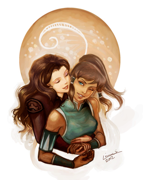 imakemywings:  Korra and Asami by ~Linnpuzzle