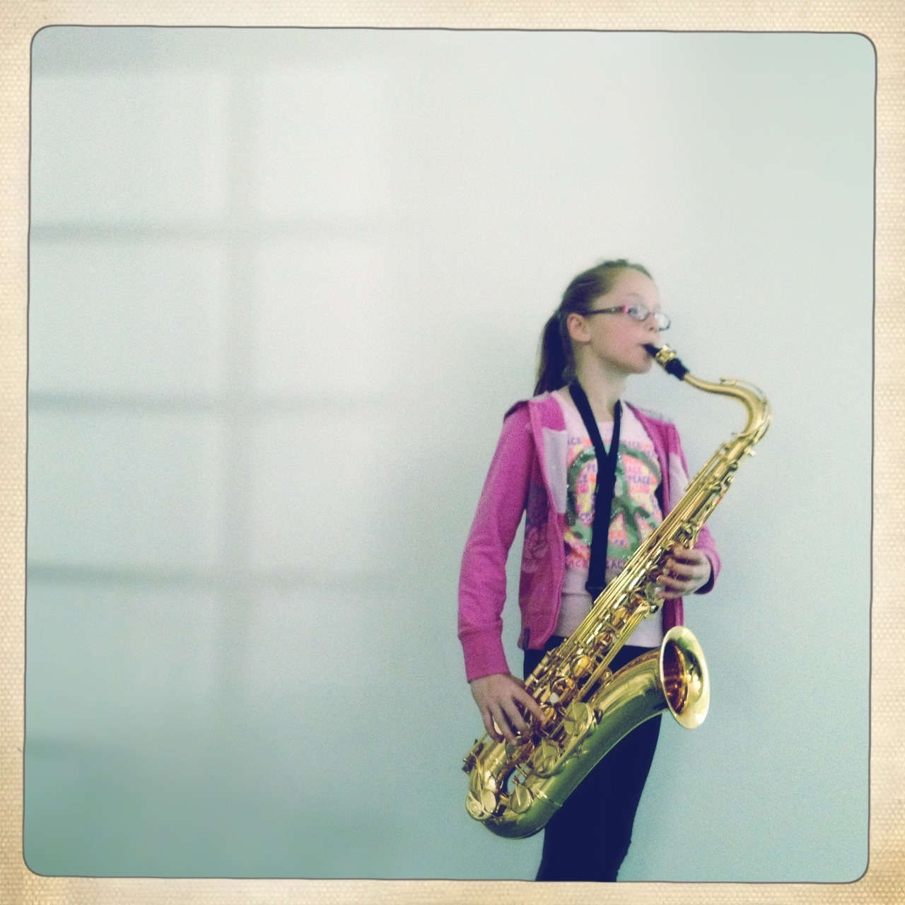 My niece: the modern day Lisa Simpson Americana Lens, Ina's 1969 Film, No Flash, Taken with Hipstamatic