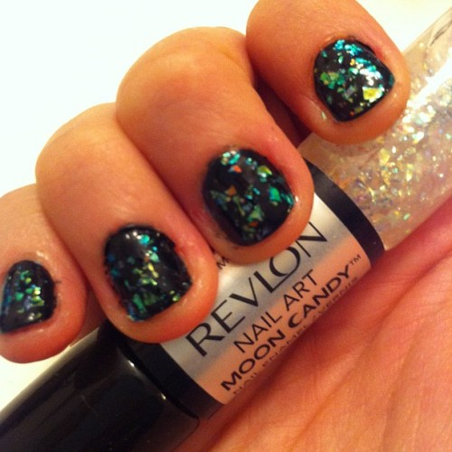 Holographic shards in the clear coat? Coolest mani ever. Thanks @Revlon! (Taken with Instagram)