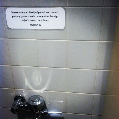 Every time I see this I wonder what happened :/ #urinal #sign #wtf  (Taken with Instagram at NextSpace San Francisco)