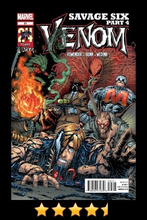 "Venom #21 Recommended! Like the Uncanny X-Force, I was starting to get concerned about this series - happily, for both series, they made a pretty nice comeback. This issue was a very quick read, and ended the Crime-Master arc (from what I can tell) super fast. I am glad that it did, because the reveal of the this incarnation of the Crime-Master was kind of a joke. It certainly did not live up to my expectations for this book thus far, so a quick conclusion was welcomed. You do get a decent back-story on him, dive deeper into his psyche, and by the end, you kind of see it coming. One thing is for sure - you certainly are glad that it happens the way it does. Crime-Master = Sick. I was very pleased with the battle scenes in this issue, and how each played out. Megatak, Toxin, Eddie Brock, Crime-Master, Jack-O… everyone got what they had coming… Even Flash - the butt of the ""Peter Parker"" luck in this series - gets what he likely deserves… and if it wasn't it certainly will help him be a better future hero. It ends real well, ties up a lot of loose ends, and leaves the series with a lot of potential. We shall see if Cullen can continue to fill Rick's very awesome Venom boots. If his co-writing on the Savage Six is any indication, things should be okay… —— Follow @thanosrules on Twitter for more thanosrules Quick Reviews (#trqr)!"