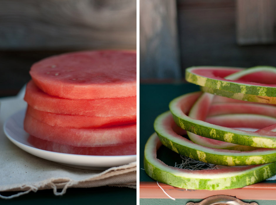 "Nothing says summer like watermelon! Slice watermelon into approx 1 inch rings, then remove the rind from each slice with a small knife. Place one watermelon ""round"" onto each salad plate, then top with a layer of thinly sliced fresh mozzarella (5 pieces?), followed by a layer of finely chopped mint, basil (approx 1/4 c each) and a sprinkling of nuts (I used almonds and walnuts, but you can use any kind). Drizzle with a bit of olive oil and sea salt before serving. Enjoy with a fork and knife- a light yet filling salad!