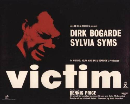 "Victim (1961, Basil Dearden)This is the second of Dearden's film from the Eclipse series ""London Underground"" that I've seen, and much like the last one, it has terrible issues with the pacing of the narrative.  What's more, the prominently-figuring red-herring was a hell of a lot more interesting than the ultimate identity of the black-mailer.  I will say, though, that it's certainly a rather important film, here we have the word ""homosexual"" spoken on-screen for the first time in the history of English-language cinema.  And there's bits of delightfully caddy dialogue:You took a wife like an alcoholic takes a cure!"