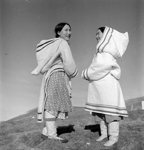 framingcanada:  Two unidentified Inuit women. Unknown Location, N.W.T. [Nunavut?], July 1951 Credit: Wilfred Doucette / National Film Board of Canada. Phototheque / Library and Archives Canada / e002265602 Source