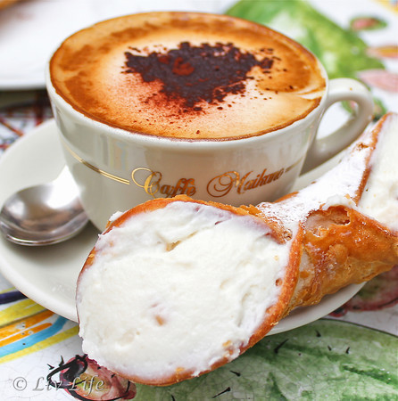 Creamy Sicilian Cappuccino & Crisp Cannoli Stuffed with Sweetened Ricotta