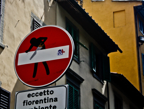these stickers and others were all over the do not enter signs in Florence and Paris