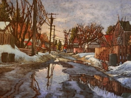 "maybeedmonton:  Soft Reflections - Kari Duke, Edmonton, AB.  We have a similar one of her paintings in our living room. People who see the piece say it feels ""like home."""