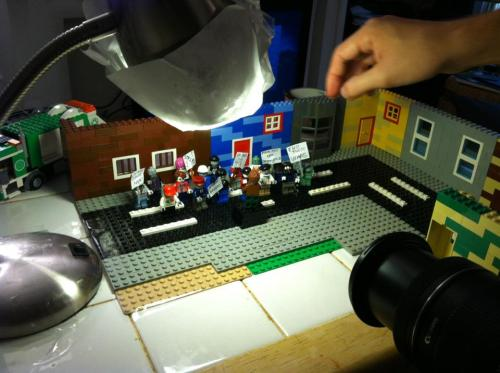 Shooting a LEGO Zombie protest!