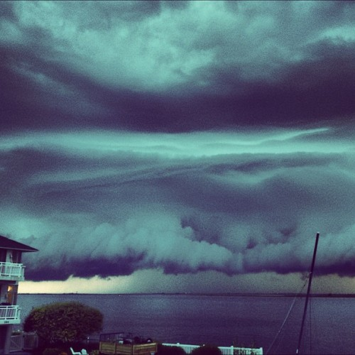 #crazy ass #storm #clouds right before they landed on #lbi (Taken with Instagram at Holgate Beach LBI)