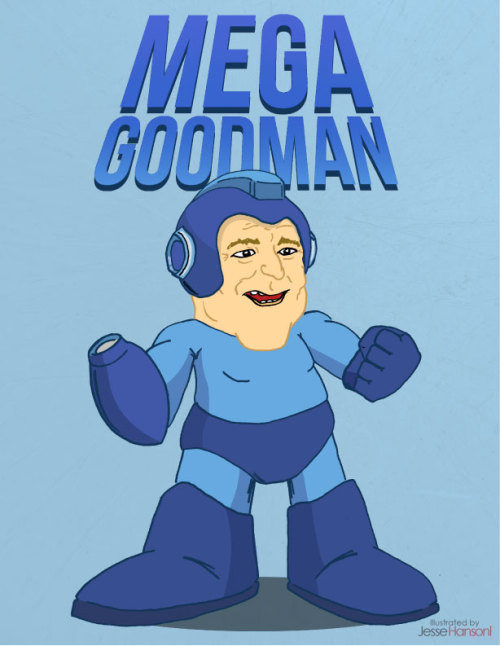 Mega Goodman - Illustrated by Jesse Hansonl Just had some free time the other day and had the funny idea of combining Mega Man & John Goodman. I really enjoyed making this fun throwback illustration.