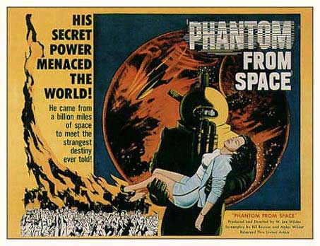 Phantom From Space (1953) WATCH ENTIRE FILM HERE An alien being with the power of invisibility lands in Santa Monica. Until The Beach Boys wrote Good Vibrations, the poor theremin was doomed to only exist in films just like this.