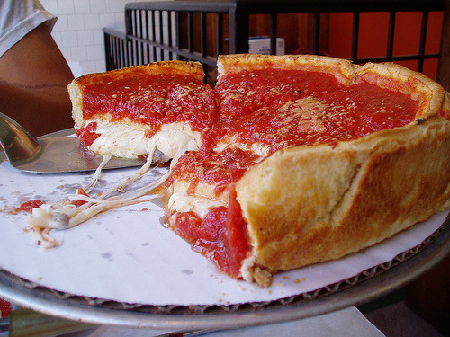 Chicago deep-dish pizza.