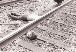 A suicide by beheading via a train accident in Baltimore. The deceased was likely a patient at a nearby psychiatric hospital. Picture credit to officer Tony Pentralia.