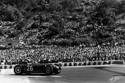 Alberto Ascari, Monaco 1955. During what would be his final Grand Prix, Ascari started from the front row before suffering a horrific crash on lap 80, falling into the harbour only to be saved by aquamen. Four days later, after making a surprise appearance at a Ferrari sports car test at Monza to watch his friend Eugene Castellotti, Ascari popped into the car to make a few laps (the two would be driving the car at the Supercortemaggiore 1000 km race later in the year) in trousers, short sleeves and Castellotti's helmet. Coming through the high speed left hander Curva di Vialone, Ascari lost control and was thrown from the vehicle as the car rolled. He would die of his injuries, and was buried alongside his father in Milan. The corner was renamed in his honour, and was later reconfigured into the Variante Ascari which we know today.
